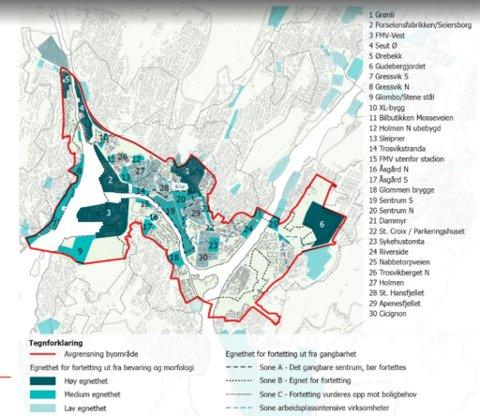 Arkitektfirmaets vurdering: Her er utviklingsområdene inndelt i tre kategorier med ulike farger, utfra hvor egnet de er for utbygging. (Illustrasjon: alt arkitektur og Fredrikstad kommune)