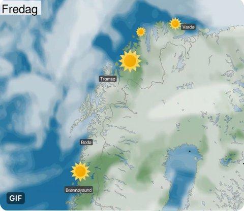 SJELDENT SYN: Det er lenge siden at meteorologene har hatt en så stor sol på værkartet i Finnmark.
