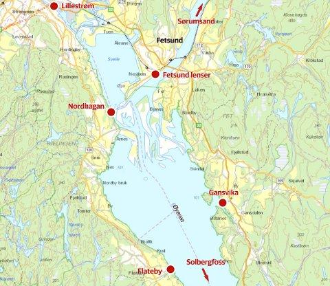Rute: Turene tar utgangspunkt fra Fetsund lenser eller Lillestrøm havn. Rutene går blant annet til Solbergfoss i sør, via Glomma og Sørumsand i nord. Andre stoppesteder for MS Øyeren er Nordhagan i Rælingen og Flateby i Enebakk og til Gansvika i Fet.