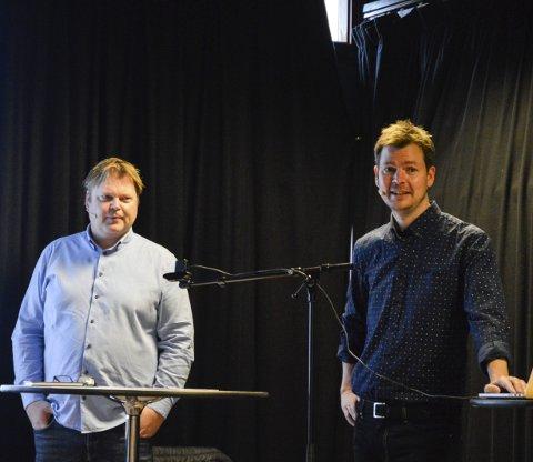 BESTSELGER: Forfatter Jørn Lier Horst (t.v.) og illustratør Hans Jørgen Sandnes hadde høytlesning fra deres nyeste barnekrimbok i serien «Detektivbyrå nr. 2» i Sandefjord bibliotek lørdag.