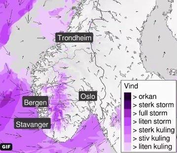 MYKJE VIND I VENTE: Torsdag blir det mykje vind. Det blir sterk kuling og liten storm i vest, melder Meteorologene.
