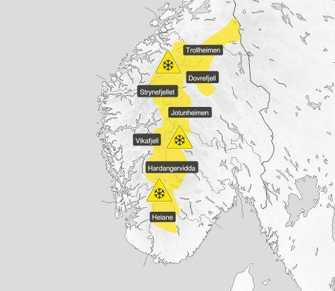 FAREVARSEL: Det er sendt ut gult farevarsel for fjellovergangane i Sør-Noreg.