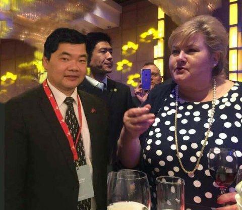 I BEIJING: Kent Zhao sammen med statsminister Erna Solberg.