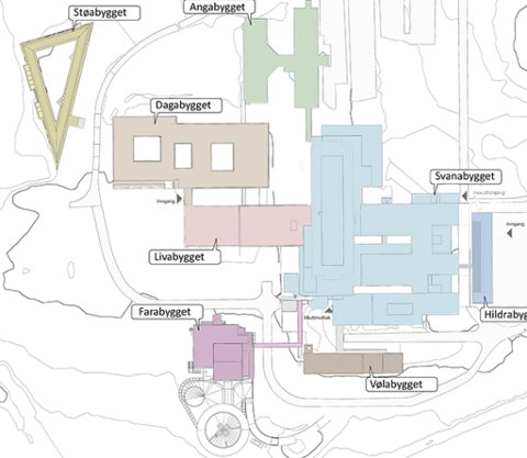 NAMNA: Her er dei nye nemningane på sjukehusbygga i Førde.