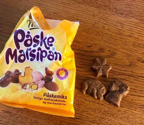 Julesjokolader i påskeforkledning var hva Marianne Trinity Ulfeng fant da hun skulle unne seg litt påskegodis.