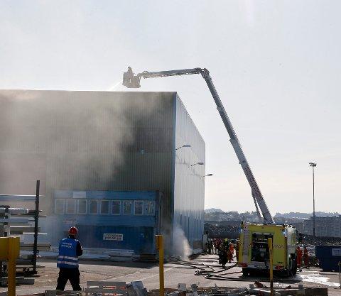 TIDLIGERE ØVELSE: Arkivbilde fra katastrofeøvelse ved Aibel på Risøy i 2014.