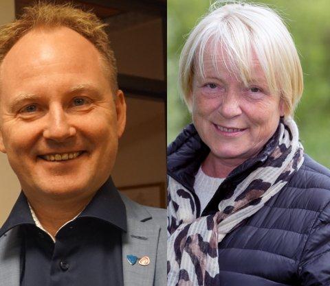 Remi Solberg (Ap) og Bente Anita Solås (H) er uenige om hvem som burde få din stemme i kommunestyrevalget.