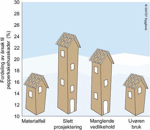 Hva går galt: Figuren viser hvor stor andel av pepperkake-byggskadene som skyldes ulike forhold.
