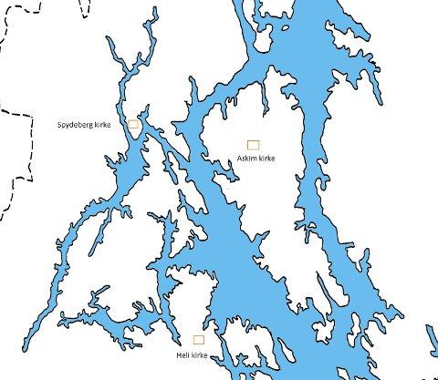 Fjordlandskap: Glommafjorden da havnivået var 100 meter høyere enn i dag. 3.000 år tok det før saltvannet trakk seg ned fra Mørkfoss til Vamma.