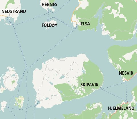 Ferjeturar frå Hjelmeland til Foldøy har blitt vurdert, men lagt vekk igjen. (Kart: OpenStreetMap)