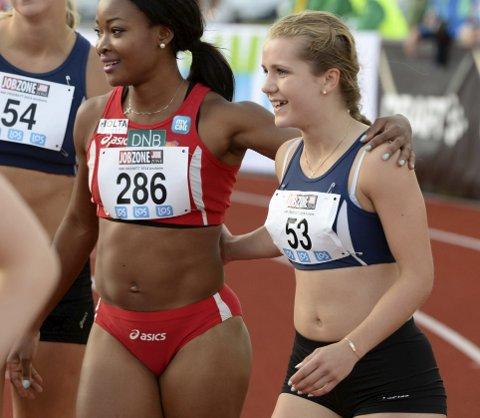 VIL OPP OG FRAM: Helene Rønningen er berre 18 år og har allereie tatt ein av Ezinne Okparaebo (t.v.) sine rekordar. På testane i vinter har pilene peika tydeleg ein veg. Oppover. Foto: NTB
