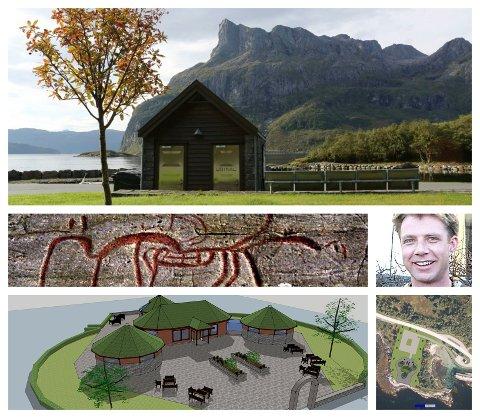 Ein fotokollasj som illustrerer hovudelementa i Eimhjellens ide om eit turistsenter på Gloføyke.