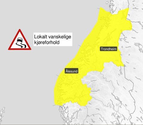 VANSKELEGE KØYREFORHOLD: Frå Trøndelag til og med Sogn og Fjordane.