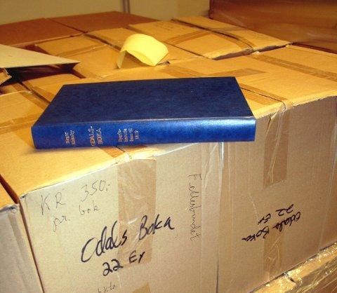 STØVER NED: I hele fjor ble det bare solgt fire eksemplarer av Odalsboka. Bildet ble tatt på lageret i rådhuset på Skarnes for ni år siden.