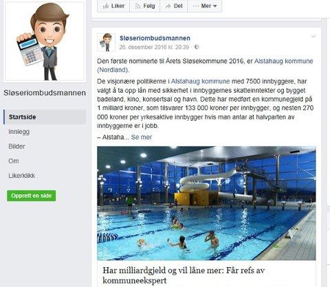 Alstahaug kommune ligger an til å få Sløseprisen 2016, ifølge facebooksida til Sløseriombudsmannen.