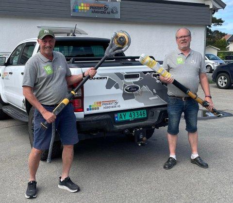 HAR SOLGT: Odd-Erik Kanth-Lundem og Karl Tommy Thorvaldsen (t.h) har solgt aksjene i Prosjekt Håndverk i Moss til milliardkonsernet Håndverksgruppen i tro på en ny og forsterket vekst.