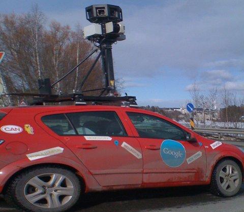 Google-bilen tar bilder til Google street maps i Soknedalsveien.