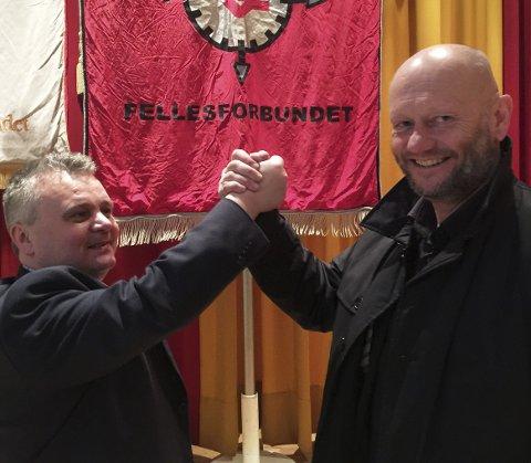 TJOMMIER: Jørn Eggum fra Bergen og Fellesforbundet sammen med Stein Lier Hansen i Norsk Industri. Fredag var det mest hygge mellom dem. Spørsmålet er hvordan stemningen er når tariff-forhandlingene starter i midten av mars. FOTO: DAG BJØRNDAL