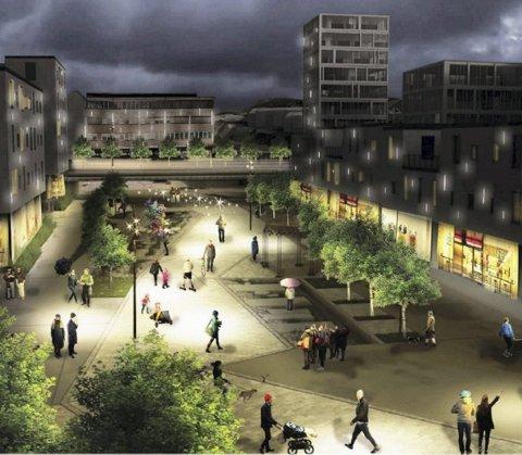 Knarvikplanen legger opp til at store områder skal brukes til både handel og boliger. I sentrum er det ønske om en allmenning.