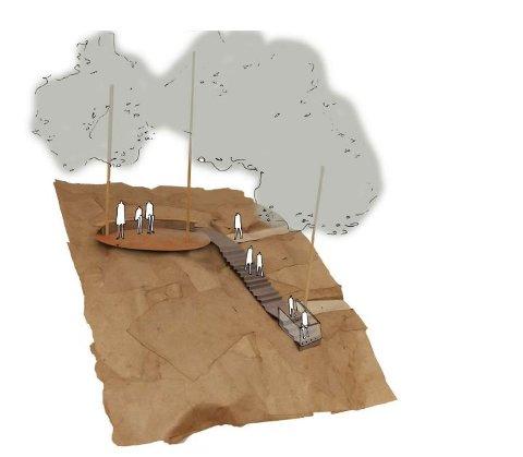 UNIVERSELL: Illustrasjon av utkikksplattform frå forprosjektet til Fortunen arkitektur. Den øvste stien (på høgde med plattforma) skal ha universell utforming.