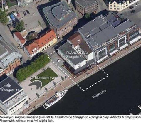 Den planlagte utvidelsen av bygningen ved Blomstertorvet. (Skjermdump: www.fredrikstad.kommune.no)