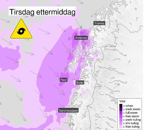POLART LAVTRYKK: Tirsdag formiddag meldte meteorologene på Twitter at et polart lavtrykk skulle treffe nordlige deler av Nordland og Troms. Det merket ikke Narvik mye av.