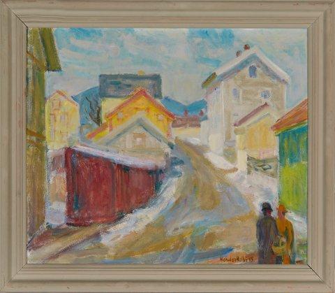 Halvdan Holbøs lillehammerbilde «Bygate» fra 1945, hadde prisantydning på 3.000-4.000 kroner, og ble 26. april solgt for 84.000 (105.000 ink. omkostninger) på Blomqvist nettauksjon i Oslo.