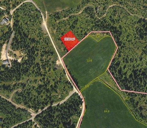 Hytteeiere på Trettenfjellet har innsigelser mot å få et gjødsellager der det er foreslått (det rød feltet)