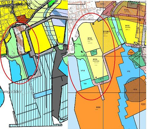 UTVIDET: Utsnittet av tidligere reguleringsplan for NJB og vedtatt områderegulering viser at bebyggelsen på «Solodden» (lysegult på kartet) er vesentlig utvidet på bekostning av friområdet (grønt) Aktuelt område er markert med en rød sirkel.