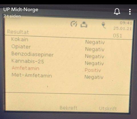 En spyttest gjorde utslag på amfetamin. Her en skjermdump fra UP Midt-Norges instagramkonto.