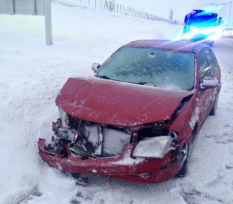 Denne bilen fikk seg en skikkelig trøkk etter at føreren mistet kontrollen.