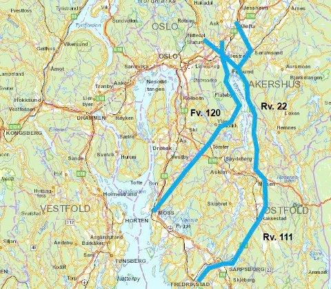 BARE FLIKKING: To hovedtraseer for omkjøringsvei øst for Oslo er utredet av Statens vegvesen. En motorvei blir fryktelig dyr og gir liten gevinst for trafikken gjennom Oslo.