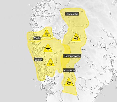 GULT: Meteorologisk institutt har ute gult farevarsel på snøfokk i Jotunheimen og Langfjella. I Ytre Sogn har vi farevarsel på kraftige vindkast, og i Hordaland varsel om både kraftige vindkast og mykje regn.  Alle farevarsel finn du på: http://yr.no/nb/farevarsler