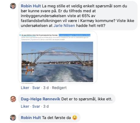 """Screenshot fra """"god diskusjon"""" på facebook mellom Aps Robin Hult og MDGs Dag-Helge Rønnevik"""