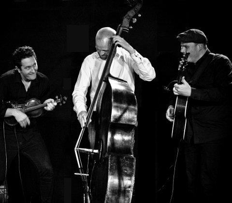 TIL HOF: Jazztrieon Hot N Spicy består av Bjarke Falgren, fiolin, Lars Tormod Jenset, kontrabass og Svein Erik Martinsen, gitar og vokal.