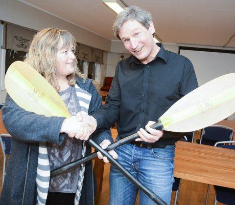 Ønskes velkommen: Ann-Kristin Aanstad og Larvik padleklubb skal nå anlegge en brygge på området til Stag. Det gleder hovedforeningens gjenvalgte leder Øivind Sørum.