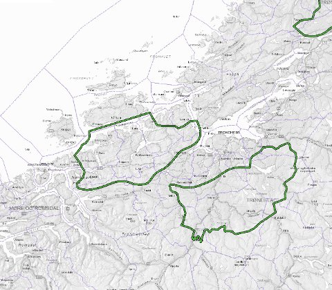 NVE peker i sitt forslag til nasjonal ramme for vindkraft ut 13 områder i Norge som de mest egnede for utbygging av vindkraft på land. Her er områdene som ligger i grenseområdene mellom Trøndelag og Møre.