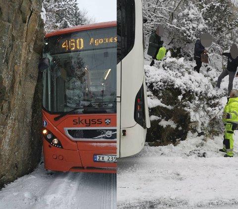 Passasjerene måtte ut av bussen etter den kjørte i fjellveggen.