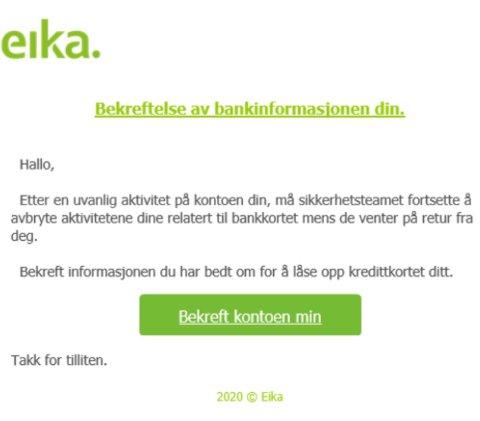 SVINDEL: Slik kan e-posten se ut.
