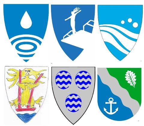 Forslag: Dette er noen av forslagene til nytt kommunevåpen som har kommet inn.