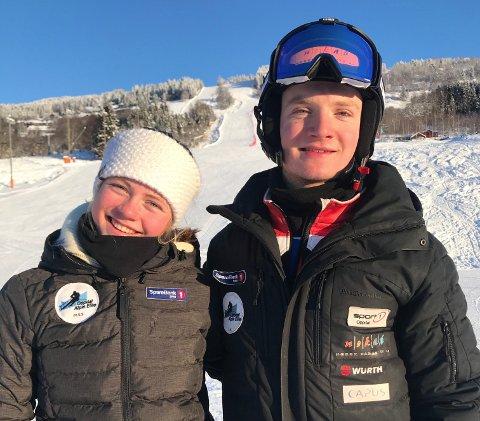 MEDALJØRER: Malin Sofie Sund tok gull i super-G og sølv i utfor under junior-NM, mens Jonas Buer sikret seg gull i super-G.