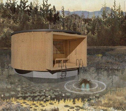 Oslo Badstuforening håper å kunne bygge denne flytende badstuen på Sognsvann.