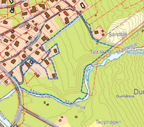 I BLÅTT: Innenfor blått område er planen 15 nye tomter klare for salg.