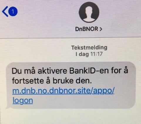 SVINDELFORSØK: Bildet viser hvordan en slik SMS kan se ut.