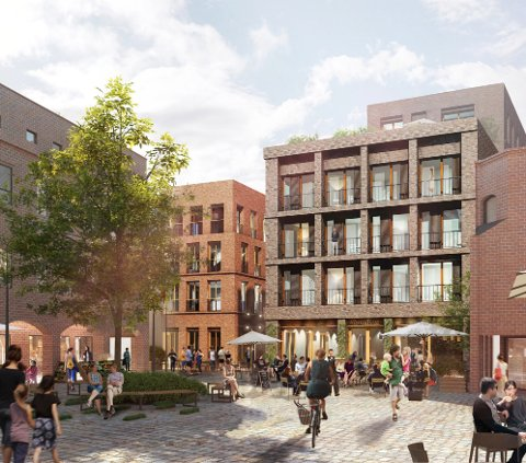 Planer: Innerst i Nygaardsplassen vil Cityplan anlegge et torg. Midt i tegningen ses de to bygningskroppene som skal oppføres.  (Illustrasjon: MAD Arkitekter)
