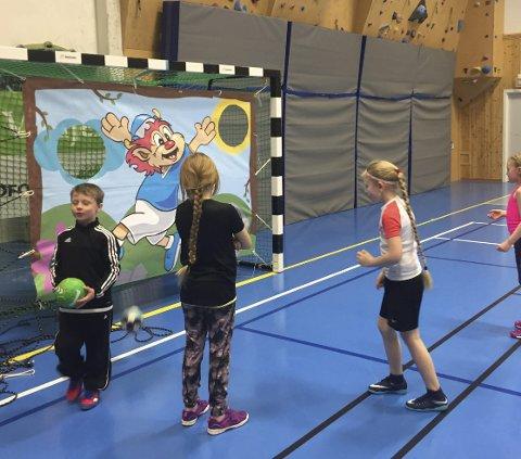 TRAFF MÅL: Unge håndballspillere hadde en gøyal figur de kunne treffe i mål.
