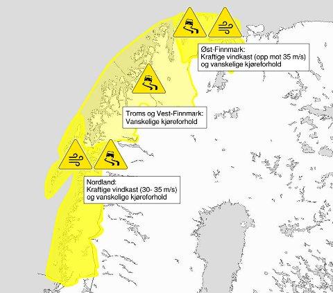 Dette kartet viser hvordan været og kjøreforholdene blir i Nord-Norge torsdag og fredag.
