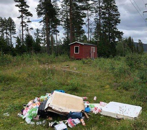 Dumpet søppel: Noen har lagt igjen et lass med søppel.