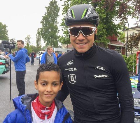 Proffmøte 2: Amir møtte også proffsyklist Edvald Boasson Hagen før den siste etappen – som Hagen vant.
