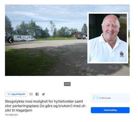 TIL SALGS: Parkeringsplassen ved MIF-hytta ligger ute på finn.no. Svein Erik Gevelt i MIF mener plassen er viktig både for klubben og for folk som vil bruke marka.